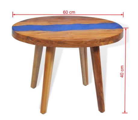 vidaXL Stolik kawowy z drewna tekowego i żywicy, okrągły, 60 x 40 cm[12/12]