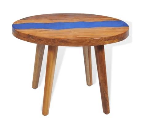 vidaXL Stolik kawowy z drewna tekowego i żywicy, okrągły, 60 x 40 cm[3/12]