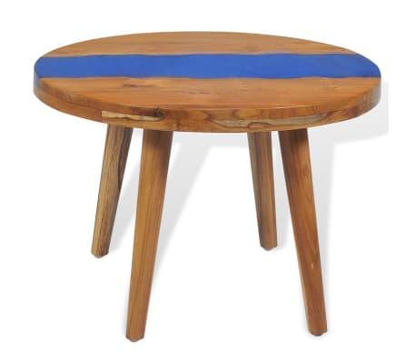 vidaXL Stolik kawowy z drewna tekowego i żywicy, okrągły, 60 x 40 cm[5/12]