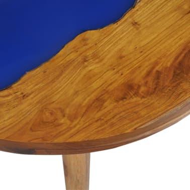 vidaXL Stolik kawowy z drewna tekowego i żywicy, okrągły, 60 x 40 cm[10/12]