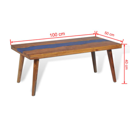 vidaXL Kavos staliukas, tikmedis ir derva, 100x50x40cm[13/13]