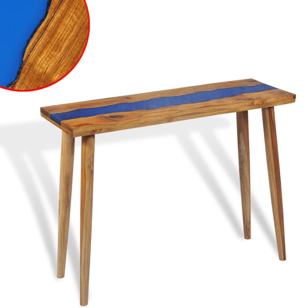 vidaXL Konzolový stolek, teak a pryskyřice, 100x35x75 cm