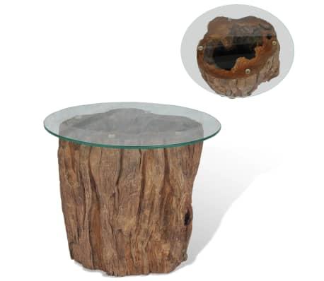 vidaXL Kavos staliukas iš tikmedžio ir stiklo, 50x40cm[1/10]