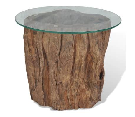 vidaXL Kavos staliukas iš tikmedžio ir stiklo, 50x40cm[2/10]