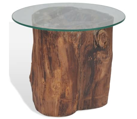 vidaXL Kavos staliukas iš tikmedžio ir stiklo, 50x40cm[4/10]