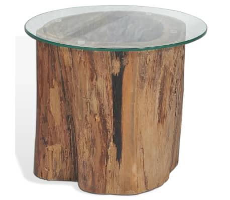 vidaXL Kavos staliukas iš tikmedžio ir stiklo, 50x40cm[5/10]