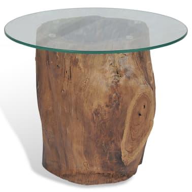 vidaXL Kavos staliukas iš tikmedžio ir stiklo, 50x40cm[3/10]
