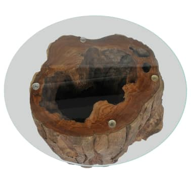 vidaXL Kavos staliukas iš tikmedžio ir stiklo, 50x40cm[7/10]