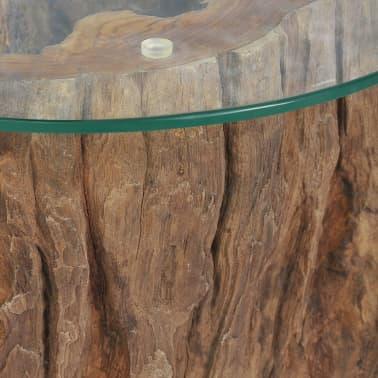 vidaXL Kavos staliukas iš tikmedžio ir stiklo, 50x40cm[8/10]