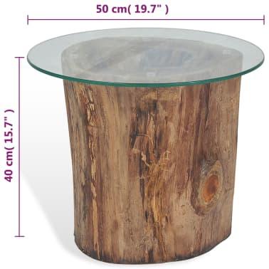 vidaXL Kavos staliukas iš tikmedžio ir stiklo, 50x40cm[10/10]