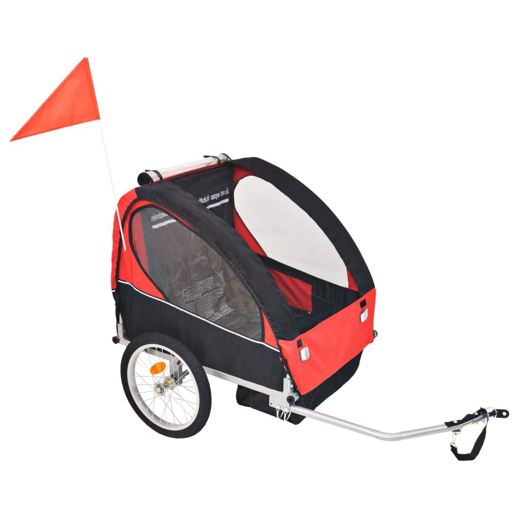 vidaXL Vozík za kolo pro děti červeno-černý 30 kg