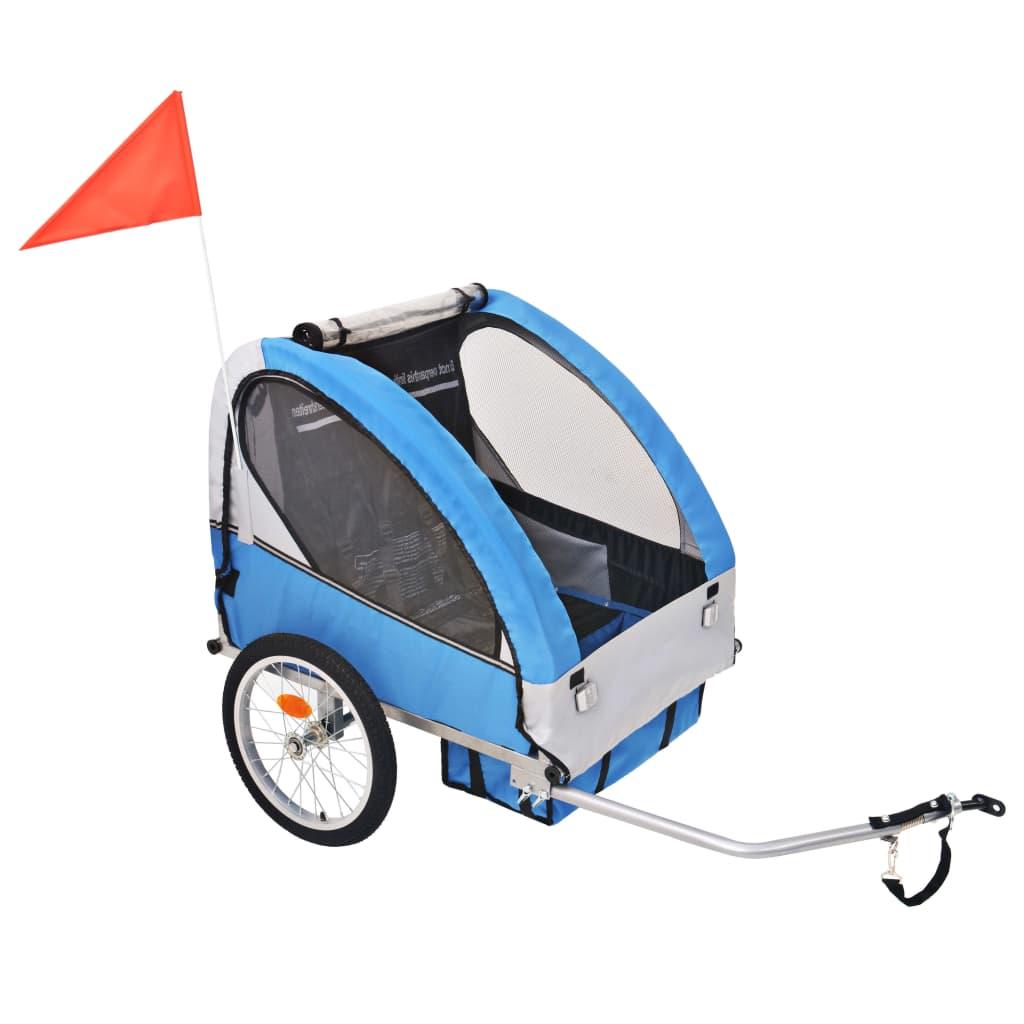 vidaXL Vozík za kolo pro děti šedo-modrý 30 kg