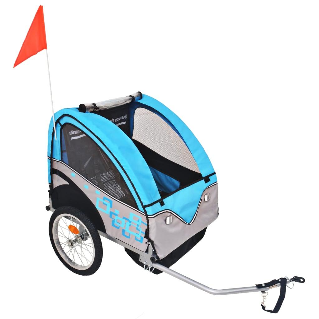 vidaXL Vozík za kolo pro děti, šedo-modrý, 30 kg