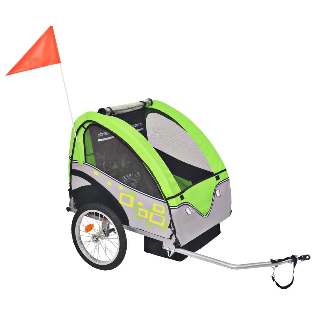 vidaXL Vozík za kolo pro děti šedo-zelený 30 kg