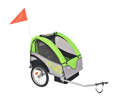 vidaXL Atrelado de bicicleta para crianças cinzento e verde 30 kg