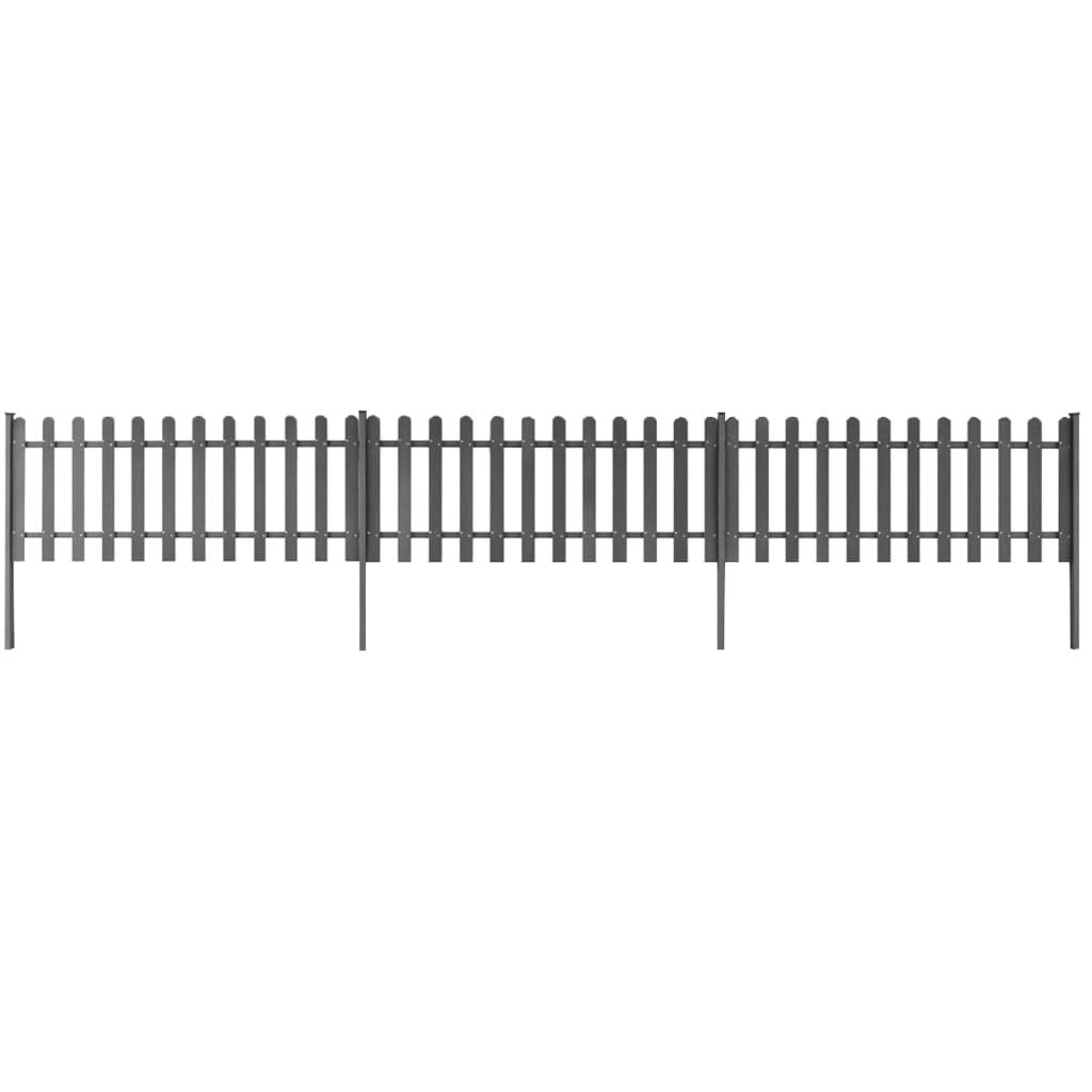 vidaXL Gard din șipci cu stâlpi, 3 buc., 600 x 60 cm, WPC poza vidaxl.ro