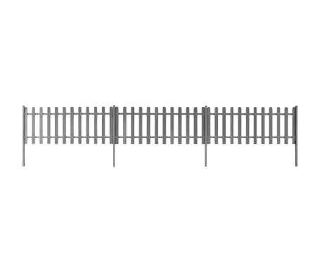vidaXL Šedý plot z WPC so stĺpikmi, 6 m dlhý a 80 cm vysoký, 3 ks[1/4]