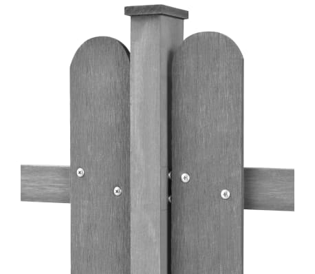 vidaXL Šedý plot z WPC so stĺpikmi, 6 m dlhý a 80 cm vysoký, 3 ks[3/4]