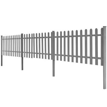 vidaXL Surenk. tvora su stulp., WPC, 3vnt., 6m ilg., 80cm aukš., pilka[2/4]