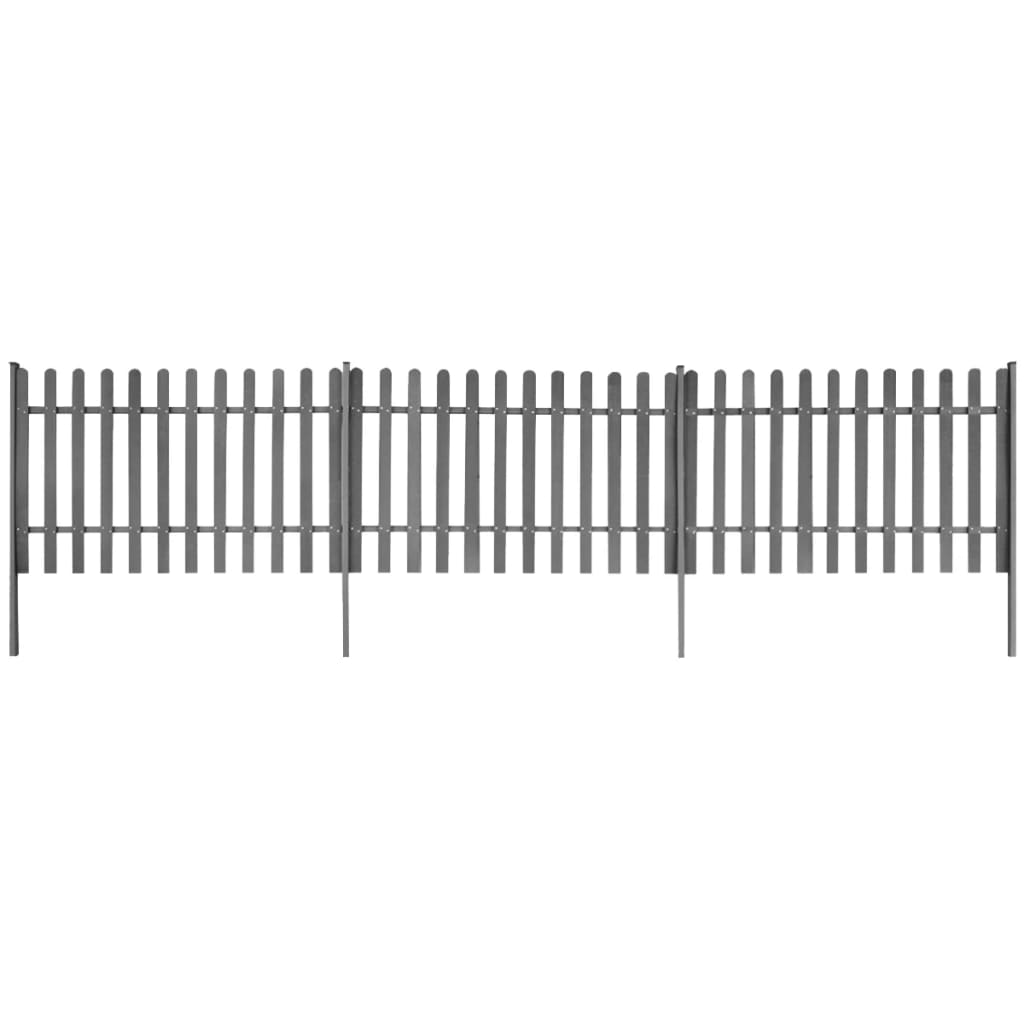 vidaXL Gard din șipci cu stâlpi, 3 buc., 600 x 100 cm, WPC poza vidaxl.ro