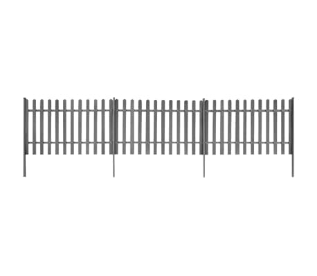 vidaXL Picket Fence with Posts 3 pcs WPC 600x100 cm