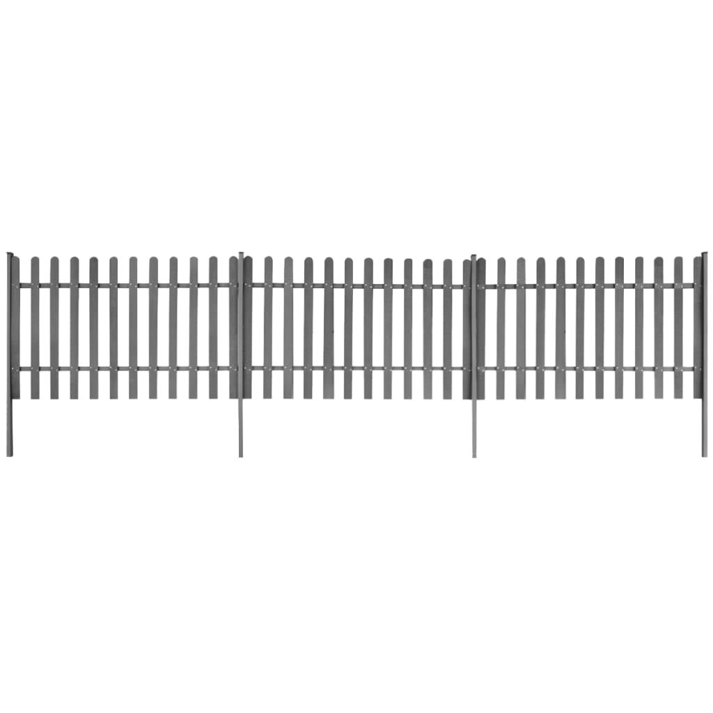vidaXL Gard din șipci cu stâlpi, 3 buc., 600 x 120 cm, WPC poza vidaxl.ro