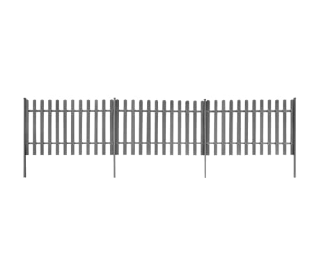 vidaXL Picket Fence with Posts 3 pcs WPC 600x120 cm