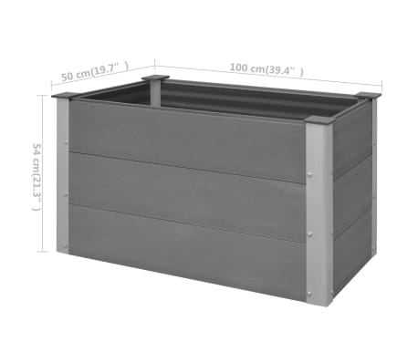 vidaXL Odlingslåda WPC 100x50x54 cm grå[8/8]