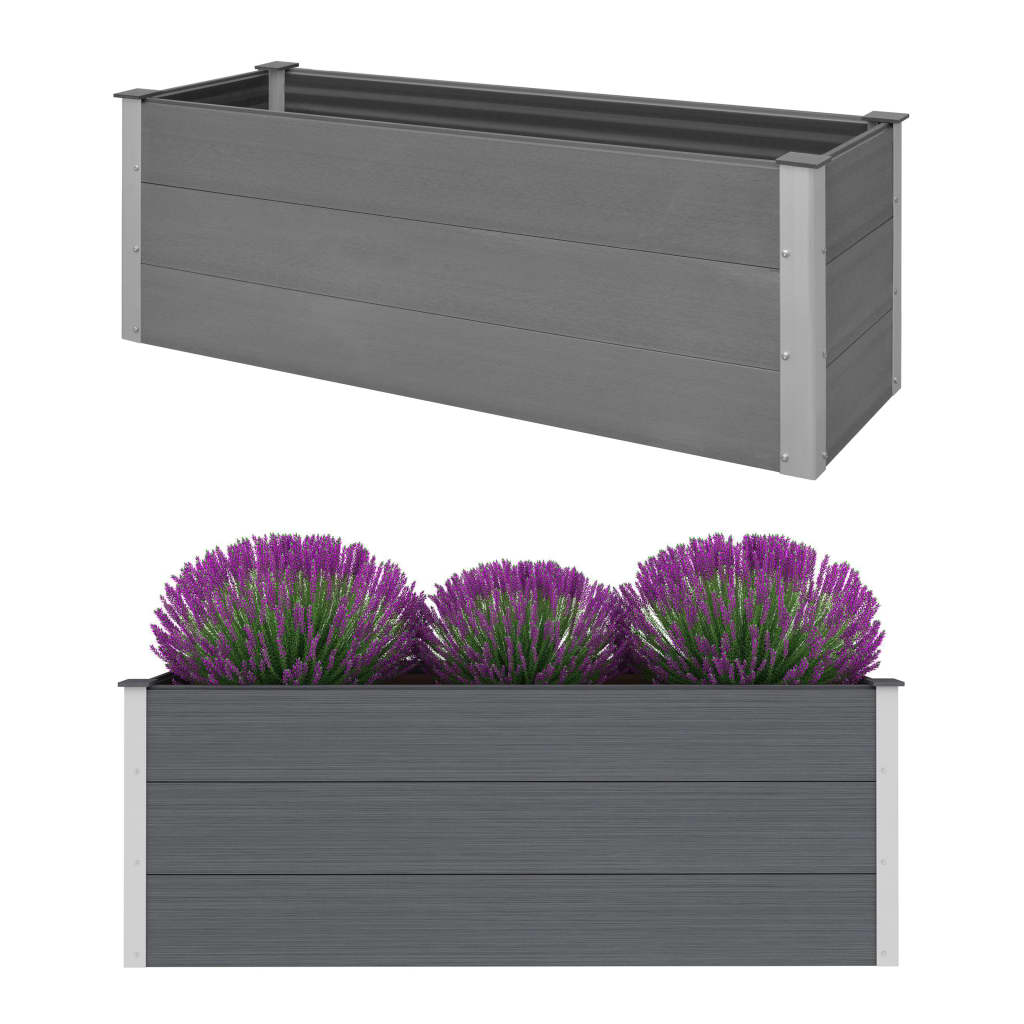vidaXL Strat înălțat de grădină, gri, 150 x 50 x 54 cm, WPC poza vidaxl.ro