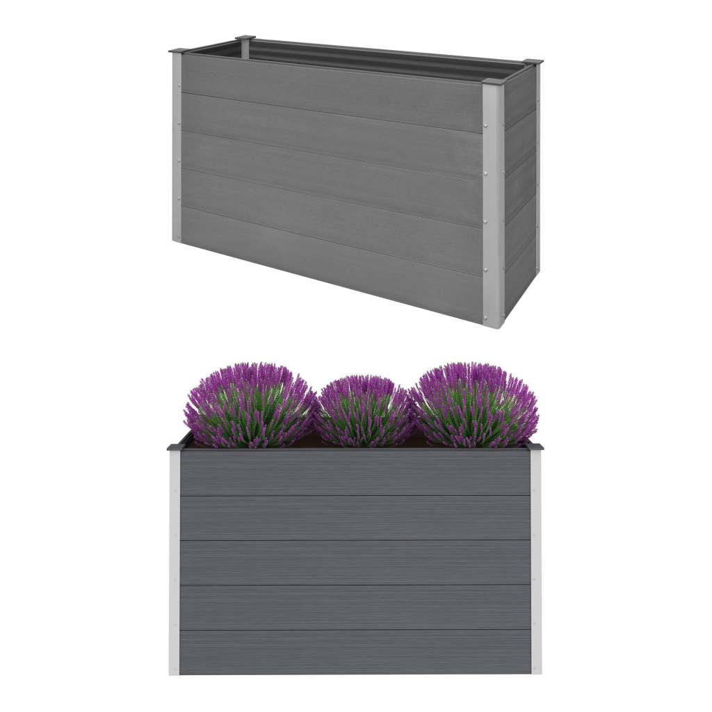 vidaXL Zahradní truhlík, dřevoplast, šedý, 150x50x91 cm
