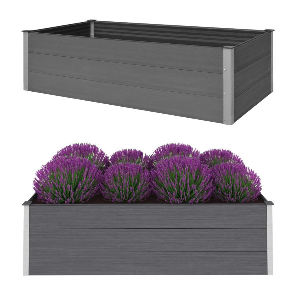 vidaXL Strat înălțat de grădină, gri, 195 x 100 x 54 cm, WPC vidaxl.ro