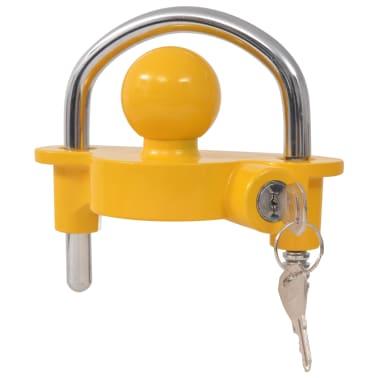 vidaXL Trailer Lock with 2 Keys Steel and Aluminium Alloy Yellow[1/7]