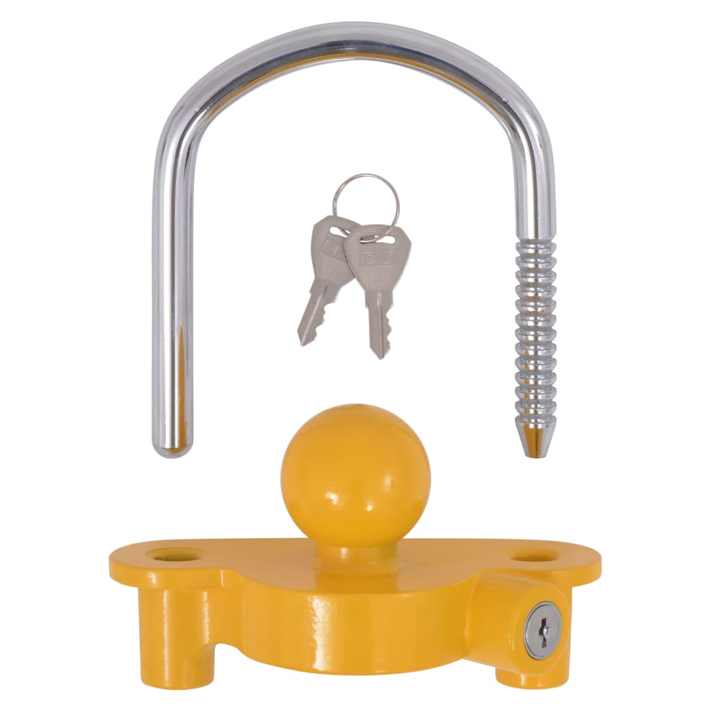 Järelhaagise lukk 2 võtmega, teras ja alumiiniumisulam, kollane