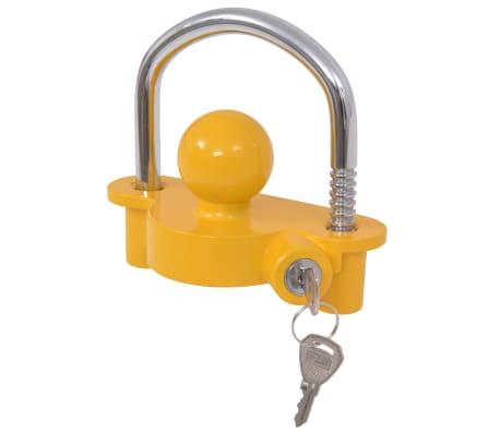 vidaXL Priekabos spyna su 2 raktais, plienas ir aliuminis, geltonas[2/7]