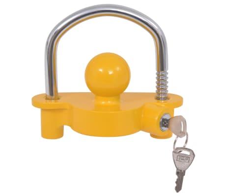 vidaXL Trailer Lock with 2 Keys Steel and Aluminium Alloy Yellow[3/7]