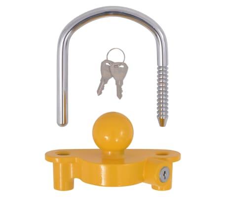 vidaXL Trailer Lock with 2 Keys Steel and Aluminium Alloy Yellow[5/7]
