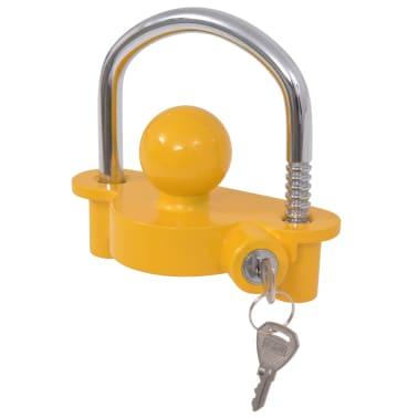 vidaXL Trailer Lock with 2 Keys Steel and Aluminium Alloy Yellow[2/7]