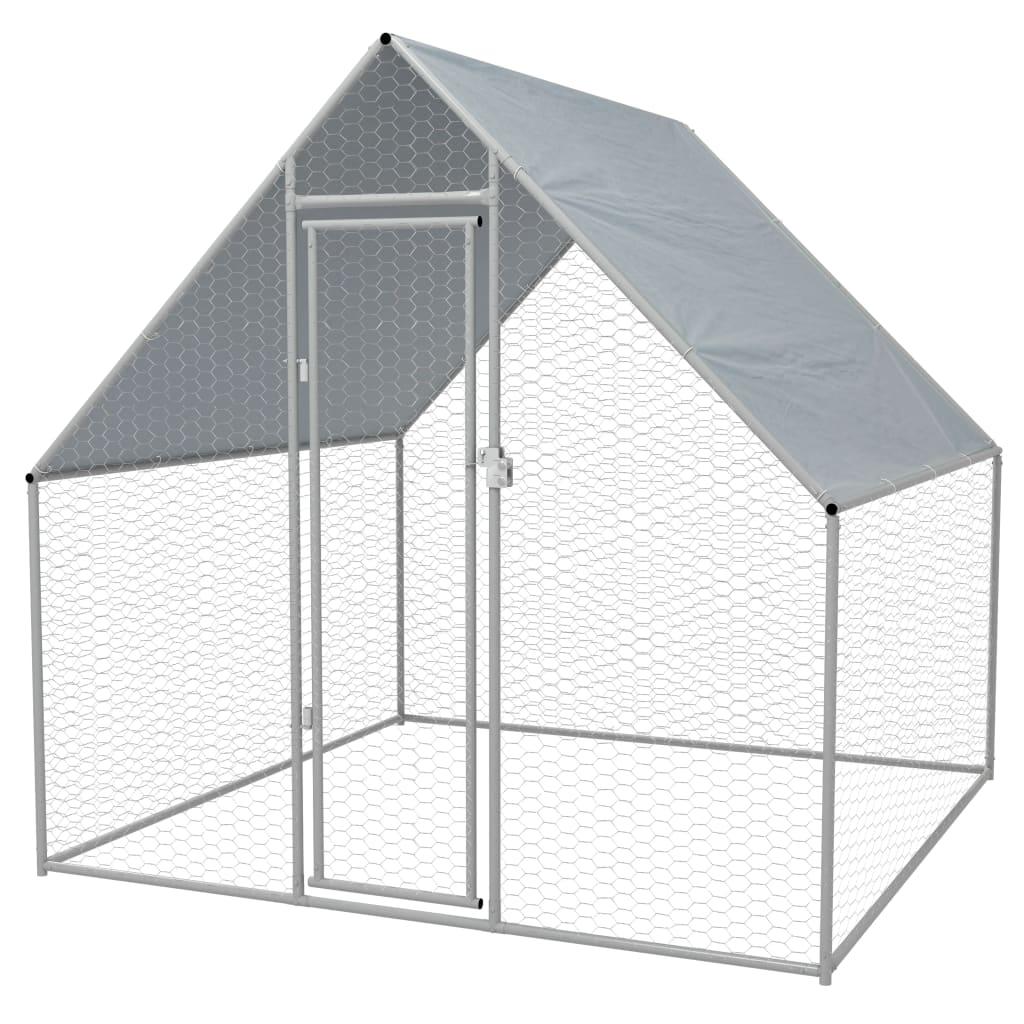 vidaXL Coteț de exterior pentru păsări, 2x2x1,94 m, oțel galvanizat vidaxl.ro