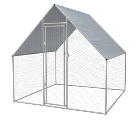 """vidaXL Outdoor Chicken Cage Galvanized Steel 6'6""""x6'6""""x6'6""""[1/5]"""