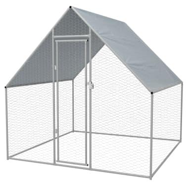 vidaXL Outdoor Chicken Cage Galvanized Steel 6