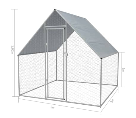 vidaXL Zunanji kokošnjak iz pocinkanega jekla 2x2x2 m[5/5]