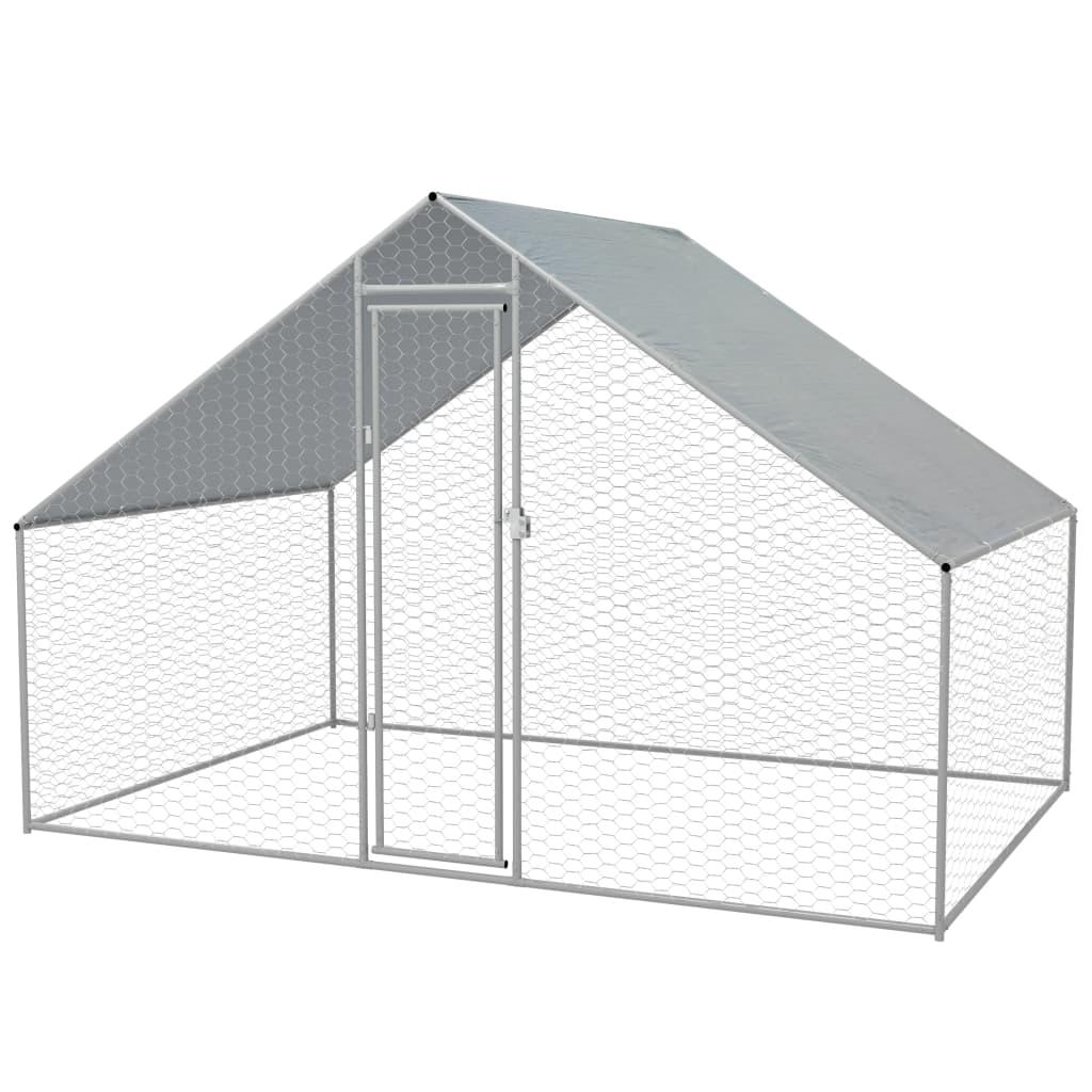 vidaXL Coteț păsări de exterior, oțel galvanizat, 3x2x2 m vidaxl.ro
