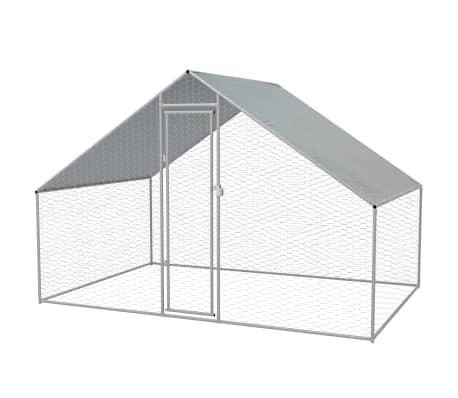 """vidaXL Outdoor Chicken Cage Galvanized Steel 9'10""""x6'6""""x6'6""""[1/5]"""