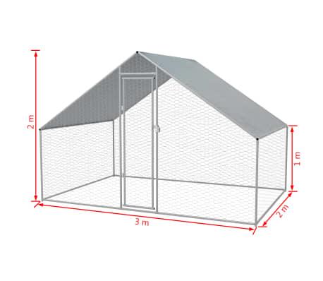 """vidaXL Outdoor Chicken Cage Galvanized Steel 9'10""""x6'6""""x6'6""""[5/5]"""