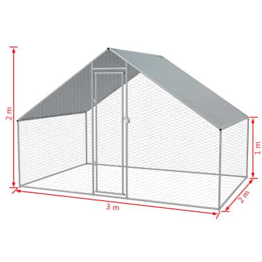 vidaXL Outdoor Chicken Cage Galvanized Steel 9