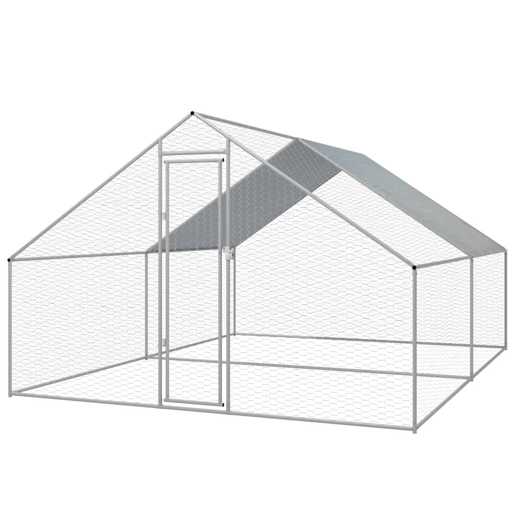 vidaXL Coteț găini de exterior, oțel galvanizat, 3 x 4 x 2 m vidaxl.ro