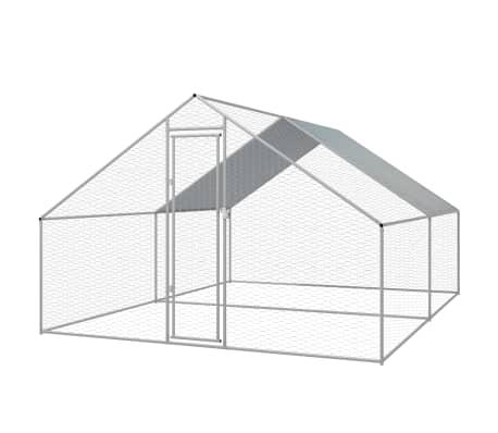 vidaXL udendørs hønsebur galvaniseret stål 3 x 4 x 2 m