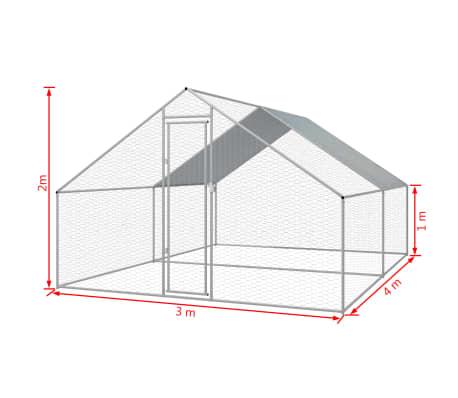vidaXL Outdoor-Hühnerkäfig Verzinkter Stahl 3 x 4 x 2 m[5/5]
