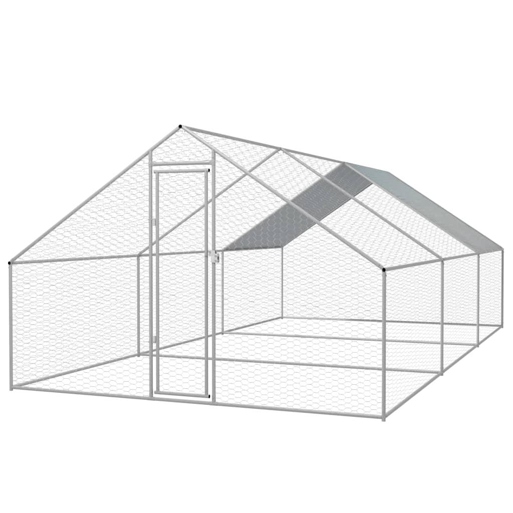 vidaXL Coteț păsări de exterior, oțel galvanizat, 3x6x2 m vidaxl.ro
