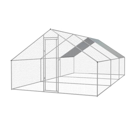 vidaXL Zunanji kokošnjak iz pocinkanega jekla 3x6x2 m[1/5]